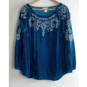 SUNDANCE Blue Velvet Embroidered Swing Top